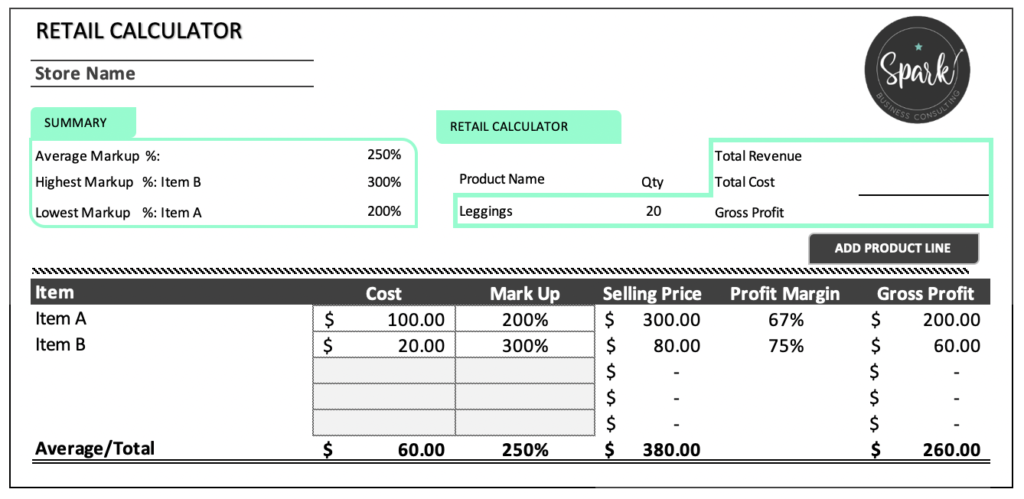 Spark Retail Calculator